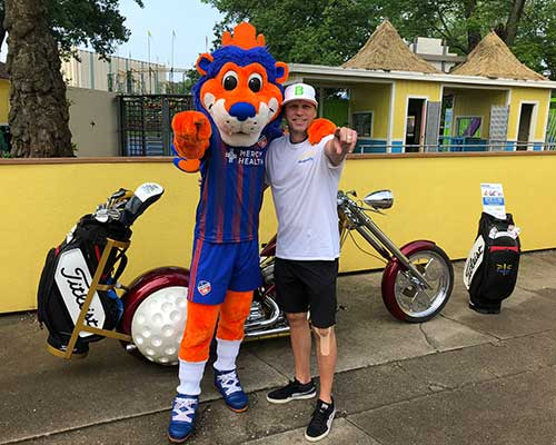 Chopper with FC Cincinnati Mascot